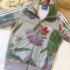 Adidas Originals Firebird track jacket gray floral